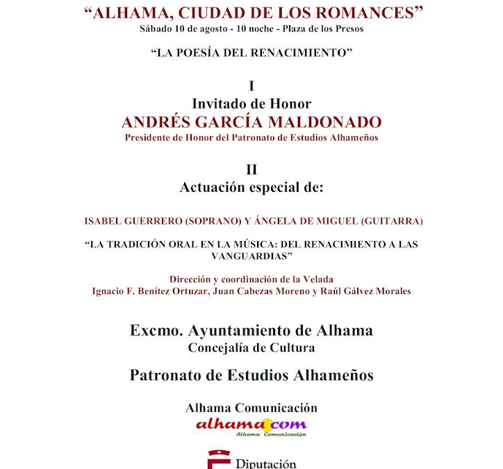 XXIII Velada de los Romances, tendrá a Andrés García Maldonado como invitado de honor